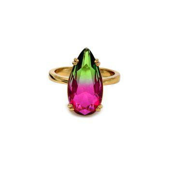 Anel de Pedra Rainbow Dourado