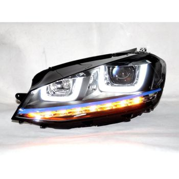 Farol Projector Drl Led Vw Golf TSI MK7 13/16 Black + Xenon