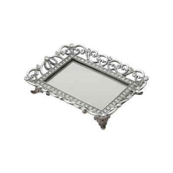 Bandeja de Zamac c/ Fundo Espelhado Treasure 13,5 x 10,5 cm