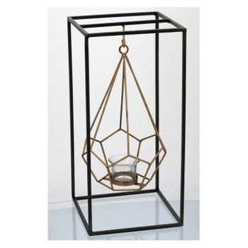 Castiçal Sidon 39 X 18 cm Vidro/Metal Preto/Dour