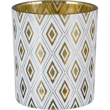 Castiçal Vidro 8 cm Vidro Branco/Dourado