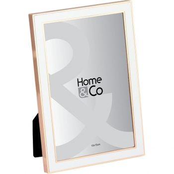 Porta Retrato 15 cm Branco/cobre