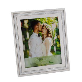 Porta Retrato Strass Branco 13 x 18 cm