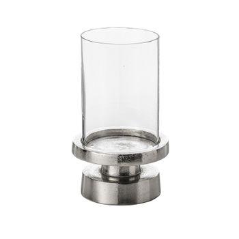 Porta Vela Donzela de Aluminio Niquelado com Vidro 31 cm Lyo