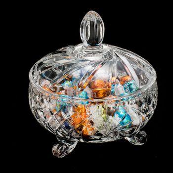 Potiche de Cristal de Chumbo c/ Tampa Sunflower 16X18 cm