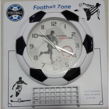 Relogio Mesa Bola Futebol 42X30X7 Preto com Branco Plastico