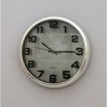 Relógio Parede Plástico Redondo 25 cm Prateado