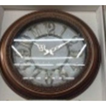 Relógio Plástico de Parede Redondo 50Cm Marrom