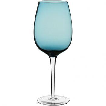 Taça Água Vidro Azul c/ pé Incolor 580Ml