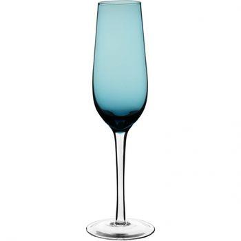 Taça Champ Vidro Azul c/ pé Incolor 220Ml