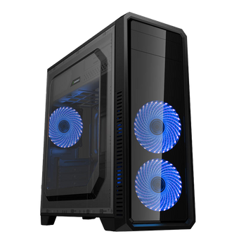 GABINETE GAMEMAX ECO - LATERAL FULL WINDOW + 3 FAN 32-LED AZUL