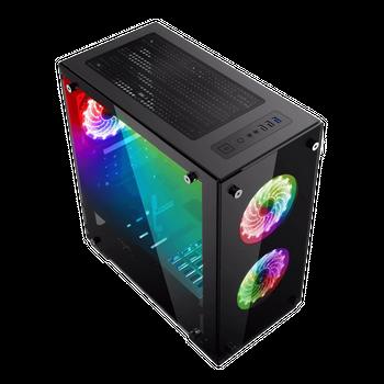 Gabinete Gamemax H-605-TA RGB + Controle Remoto em Vidro Temperado