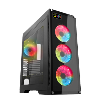 Gabinete Gamer Gamemax Rainbow M911 RGB, Mid Tower, Com 4 Fans, Vidro Temperado, Black
