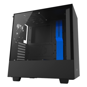 GABINETE GAMER NZXT H500, MID TOWER, VIDRO TEMPERADO, BLACK-BLUE, CA-H500B-BL