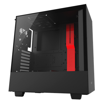GABINETE GAMER NZXT H500, MID TOWER, VIDRO TEMPERADO, BLACK-RED, CA-H500B-BR