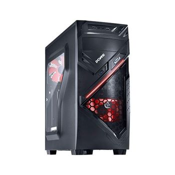GABINETE PCYES! MID TOWER CHACAL, COM JANELA DE ACRILICO, LED RED