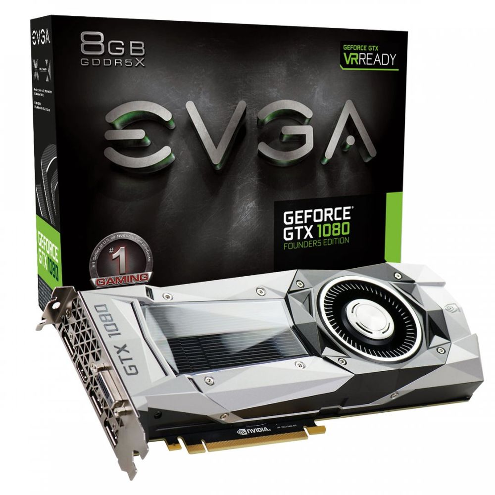 Placa de Vídeo EVGA GTX 1080 FOUNDERS EDITION 8GB GDDR5X 256Bits 08G-P4-6180-KR