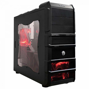 GABINETE GAMER PCYES! RHINO 3 FAN C/LED RED - BOX