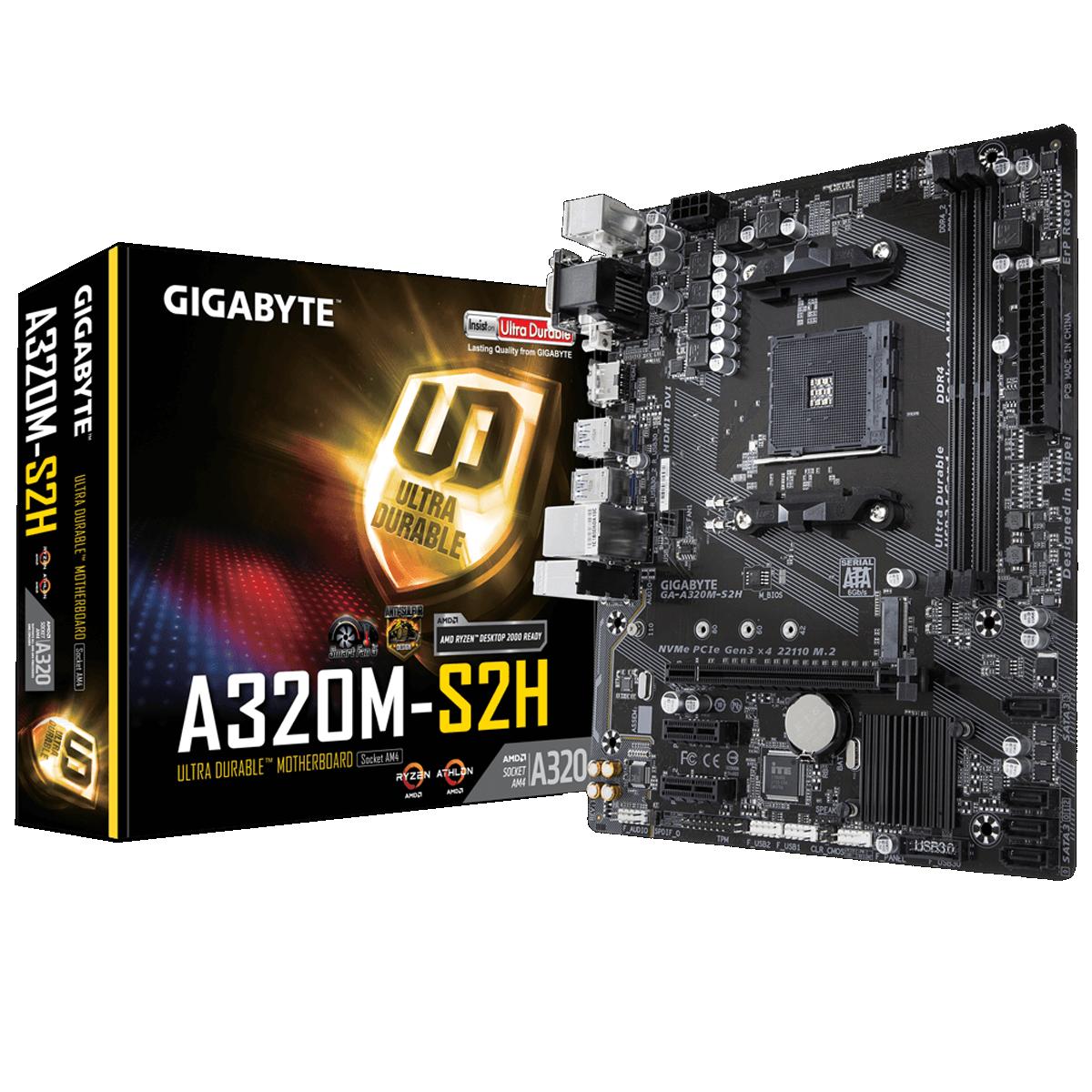PLACA MAE GIGABYTE GA-A320M-S2H DDR4 SOCKET AM4 CHIPSET AMD A320