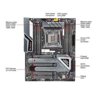 PLACA MAE X299 SUPERMICRO ATX INTEL (2066) DDR4 - MBD-C9X299-PG300-O
