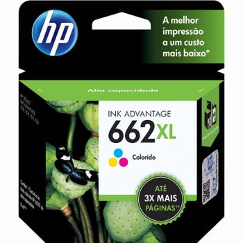 Cartucho de Tinta HP 662XL Colorido Original Alto Rendimento - CZ106AB