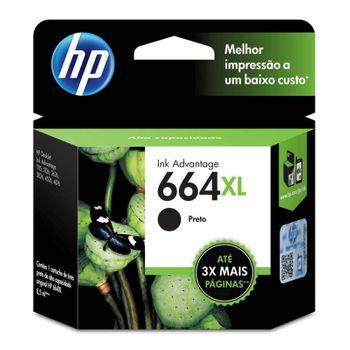 Cartucho de Tinta HP 664XL Preto Original Alto Rendimento - F6V31AB