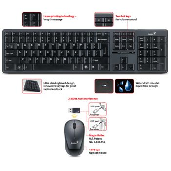 Teclado/Mouse Sem Fio Genius SlimStar 8000