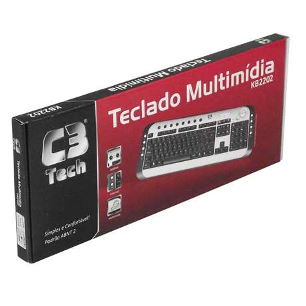 Teclado C3 Tech Multimídia USB Preto - KB2202-2 BK