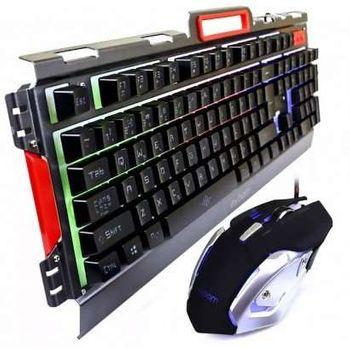 Kit Teclado e Mouse Gamer Exbom BK-G3000 Semimecânico c/ Iluminação Led e Acab. em Metal