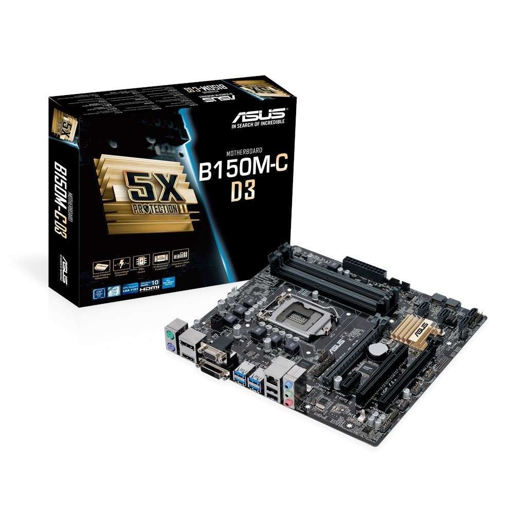 Placa Mãe Asus p/ Intel LGA 1151 mATX B150M-C D3/BR DDR3, HDMI,DVI, SATA 6Gb/s , USB 3.0
