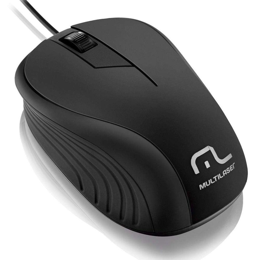 Mouse Multilaser Retrátil Emborrachado Preto USB MO231