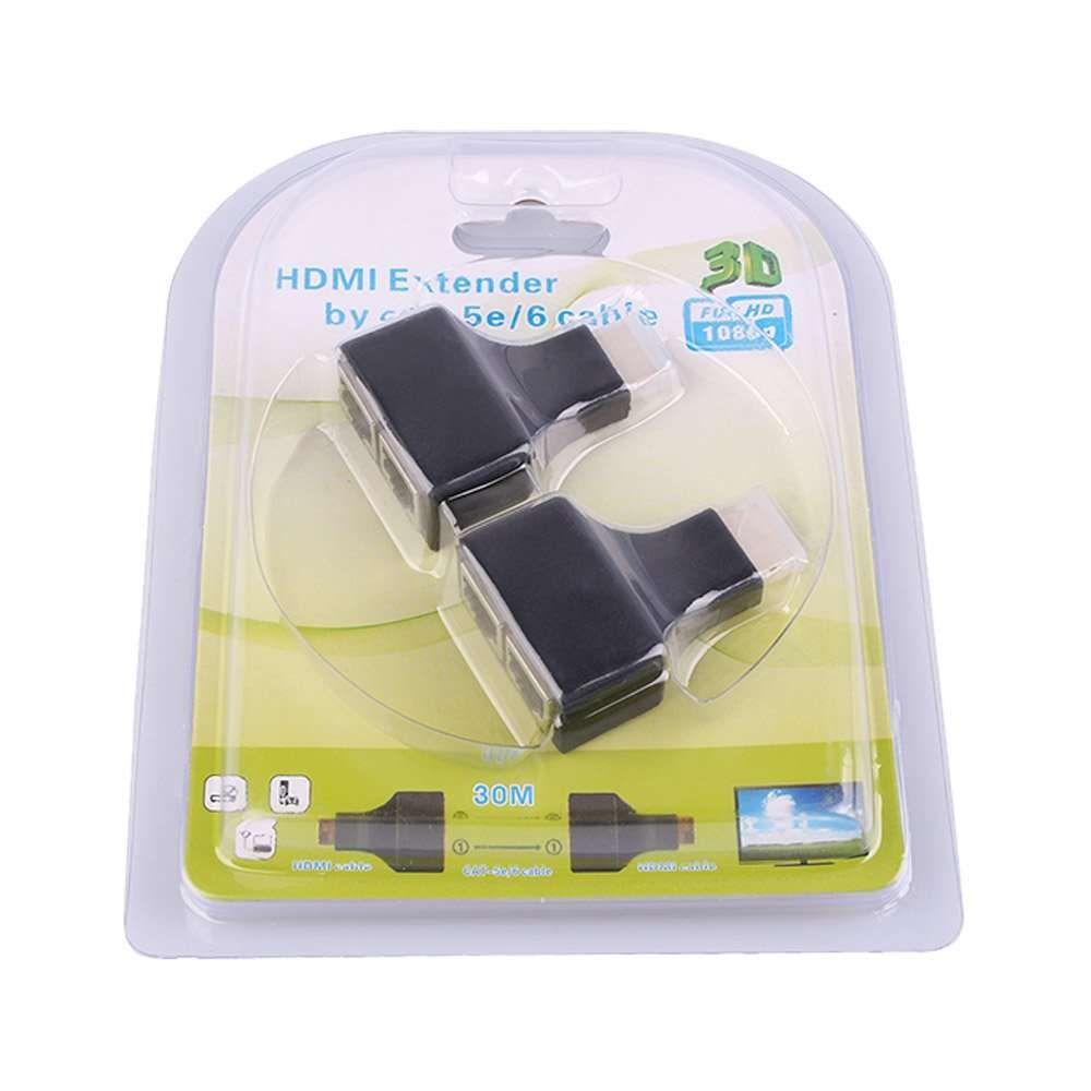 Extensor Adaptador HDMI 3D 30m P/Cabo De Rede RJ45 Cat-5e/6e