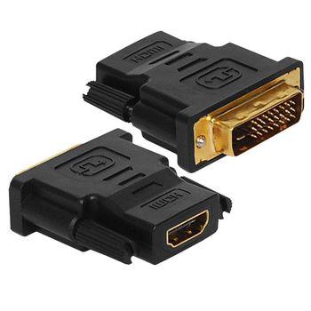 Adaptador HDMI Fêmea X DVI Macho com 24+1 Pinos