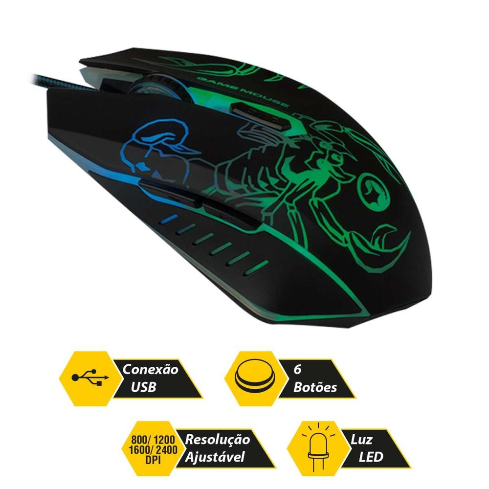 Mouse Gamer Óptico Light USB 2400 Dpi 0447 Bright