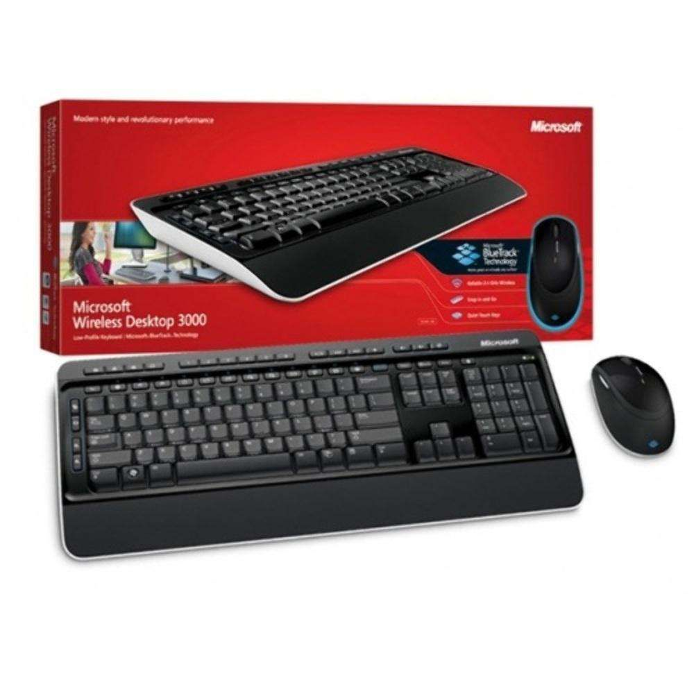 Kit Teclado e Mouse Microsoft Wireless Desktop Multimidia Blue Track 3000 MFC-00006