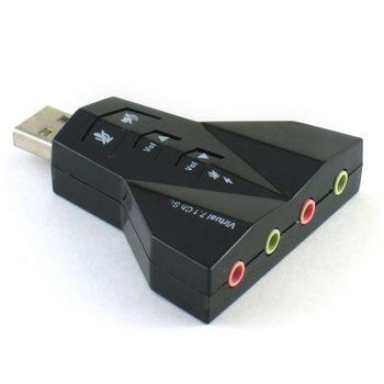 Adaptador De Som USB 7.1 Virtual Aviao Com 4 portas