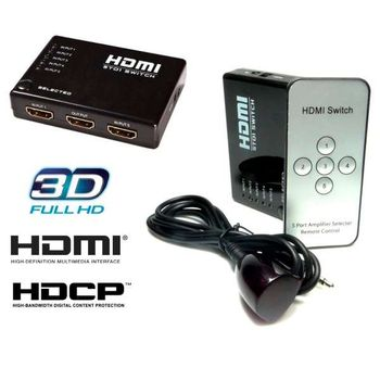 Switch Hdmi 5 Portas Splitter Full Hd + Controle Remoto AC-3