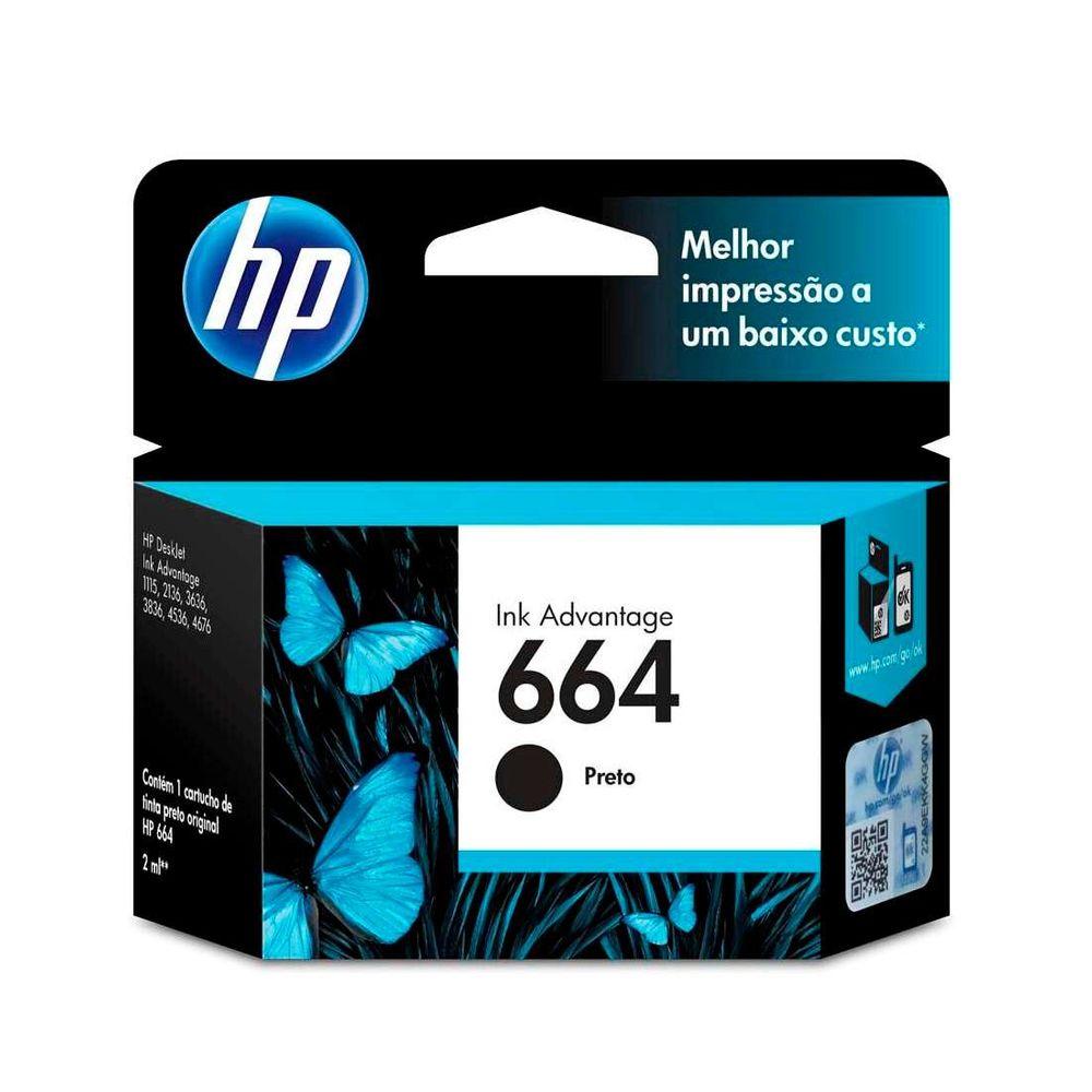 Cartucho de Tinta HP 664 F6V29AB Preto 2ml