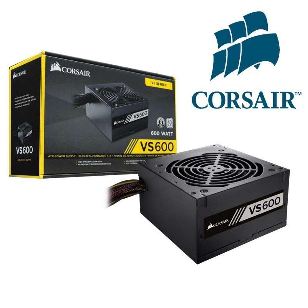Fonte Corsair 600W 80Plus White VS600 Bivolt Automatico - CP-9020119-LA