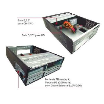 Gabinete 1 Baia Slim GM06T7 K-MEX Matx 200W