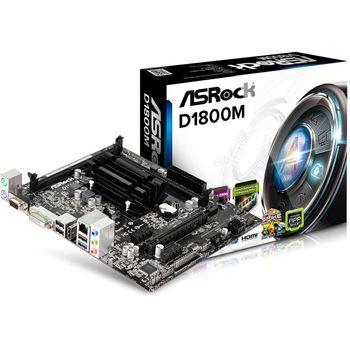 Placa Mãe AsRock D1800M + Processador Integrado Intel Dual Core J1800I, DDR3, HDMI, USB 3.