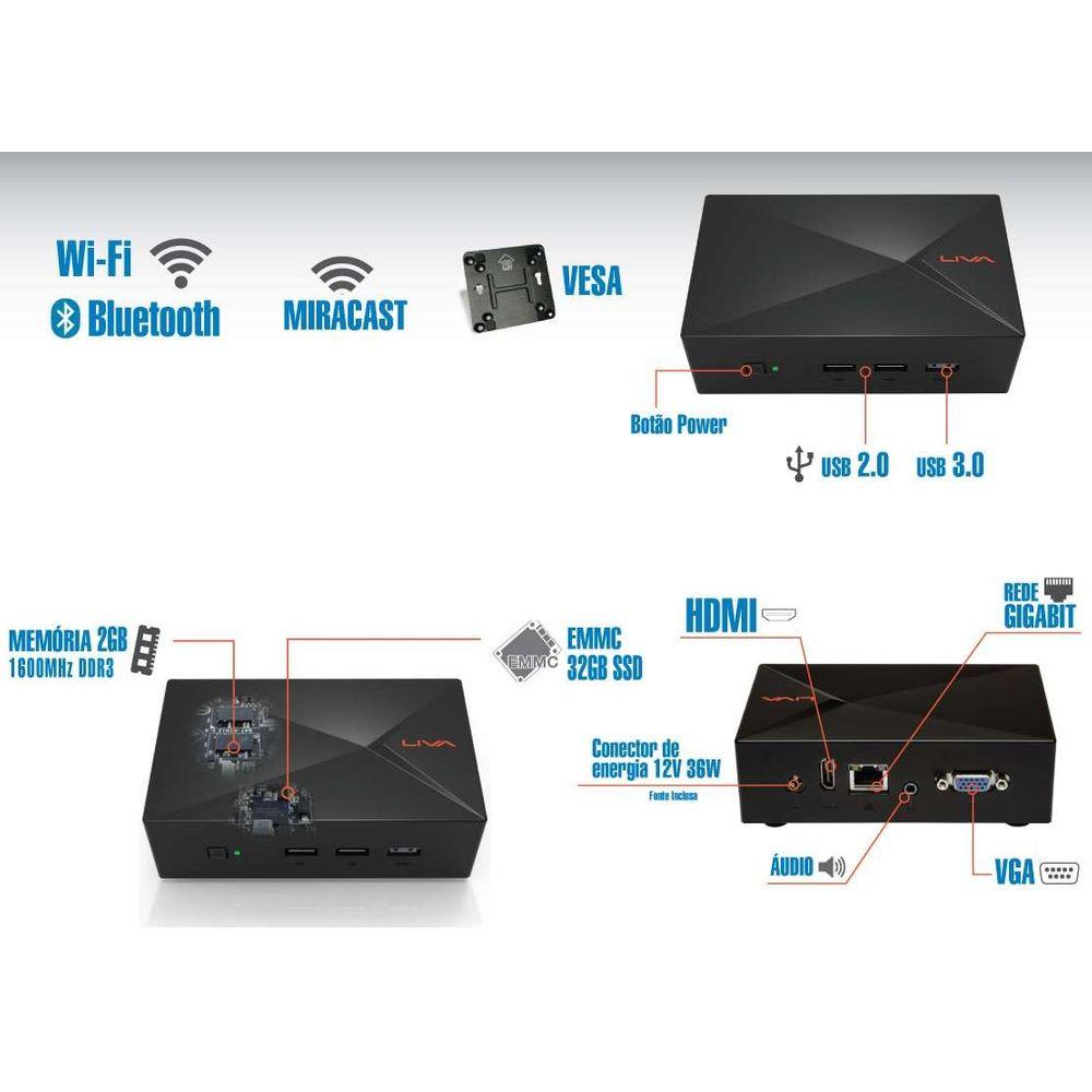 Ultratop LIVA Intel CN2808232 Dual Core N2808 2GB SSD 32GB HDMI VGA Rede Linux
