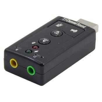 Adaptador de Som USB 7.1 canais 2 portas