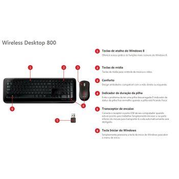 Kit Teclado e Mouse Microsoft Wireless Desktop 800 Preto 2LF-00023I