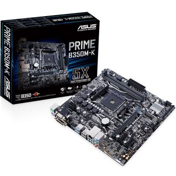 Placa-Mãe ASUS p/ AMD AM4 mATX PRIME B350M-K, DDR4, Suporta Ryzen 2000