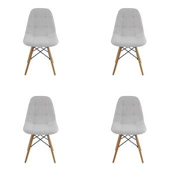 Conjunto 4 peças Cadeira Eames Eiffel Rivatti sem braço Botonê