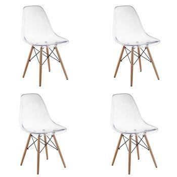 Kit 4 peças Cadeira Eames Eiffel Rivatti sem braço PC Base Madeira