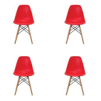 Kit 4 peças Cadeira Eames Eiffel Rivatti sem braço PP Base Madeira