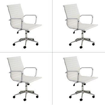 Conjunto 4 peças Cadeira Eames Sevilha Rivatti Baixa PU