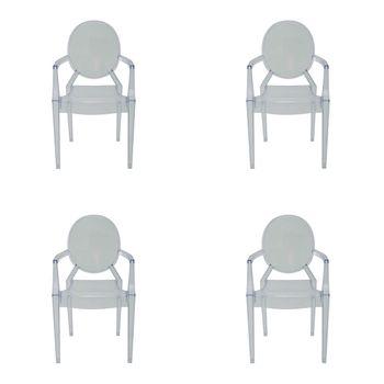 Kit 4 peças Cadeira Ghost Sofia Rivatti com braço